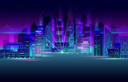 Night city panorama with neon glow on dark background. Futuristic cityscape with glowing neon purple and blue lights. City skyline. Vector illustration with megapolis, skyscrapers, buildings. Foto de archivo - 138396231