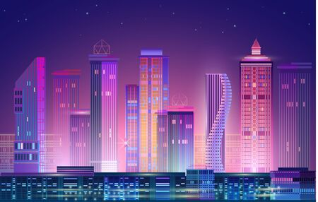 Night city panorama with neon glow on purple background. Vector.