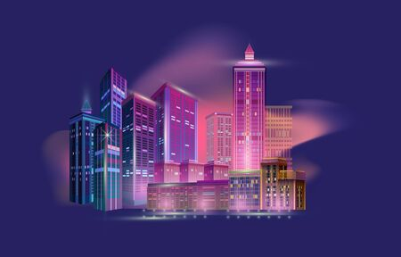 Night city panorama with skyscrapers and neon glow lights on blue background. Futuristic cityscape. City skyline. Vector illustration with buildings. Fragment of a night panorama of a modern city. Иллюстрация