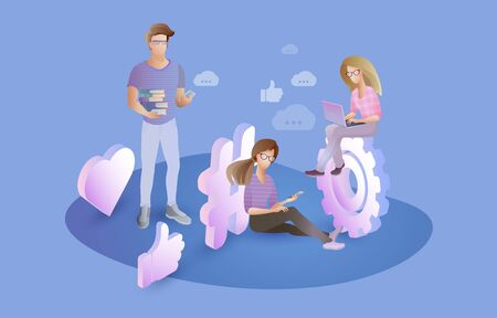 Social network and teamwork concept. People using mobile gadgets, laptop, smartphone. Chatting, Blogging. Digital marketing, business strategy. Flat character design. Vector illustration. 일러스트
