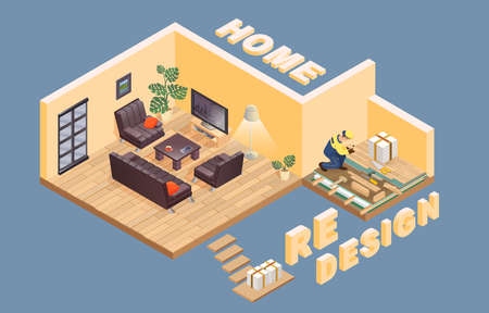 Home redesign. Isometric. Worker is laying parquet. Interior. Vector. 向量圖像