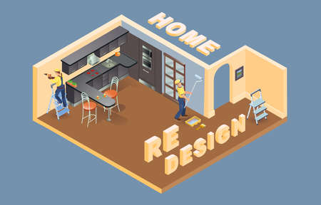 Home redesign. Isometric. Worker is laying parquet. Interior. Vector. Vecteurs