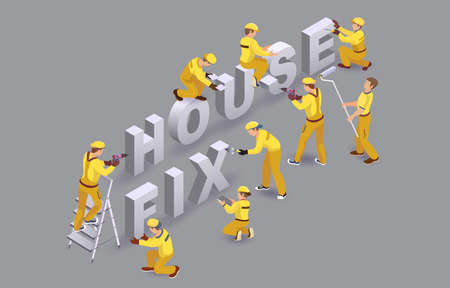 House fix. Workers install isometric letters. Team of Builders. Vector.