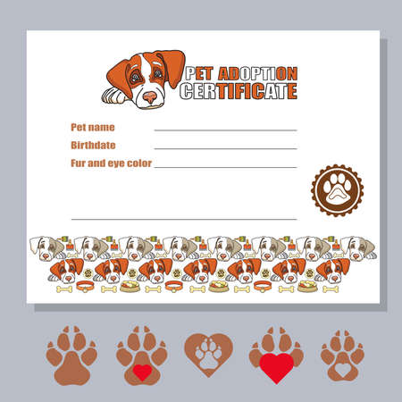 Dog adoption sertificate template. Cute pet head and text. Vector.