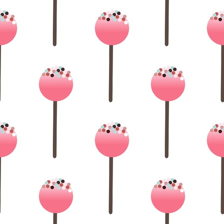cake background: Cake pops isolated on white background. Seamless pattern