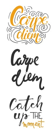 seize: Carpe diem. Catch up the moment. Motivational quotes set.Hand lettering and custom typography for your designs: t-shirts, bags, for posters, invitations, cards, etc.
