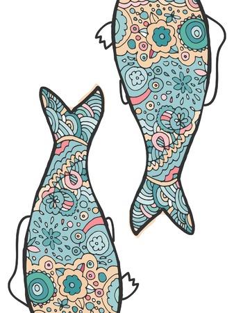 fish tail: Hand drawing. Decorative, abstract fish tail. Coloring book.Vector illustration