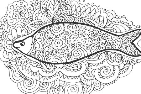 fish tail: Hand drawing. Decorative, abstract fish tail. Coloring book.Vector illustration