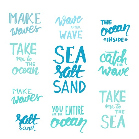 Make waves. Wave after wave. Take me to the ocean. Sea salt sand. Catch the wave. You are the entire ocean. Vectoe ilustration Illustration