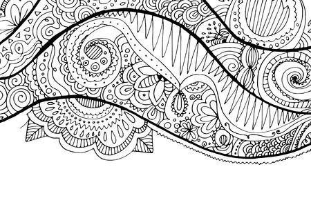 color pages: doodle hand drawn wavy background. Floral elements. Coloring page for adults. Illustration