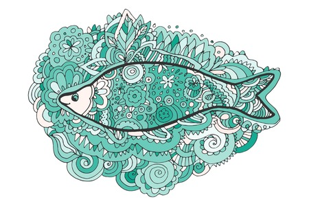 fish tail: Hand drawing Decorative, abstract fish tail. Coloring book Illustration