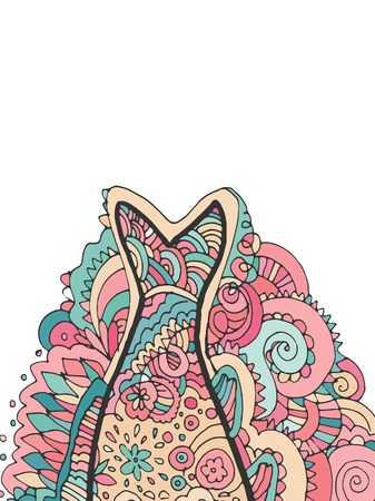 fish tail: Hand drawing Decorative, abstract fish tail. Coloring book.