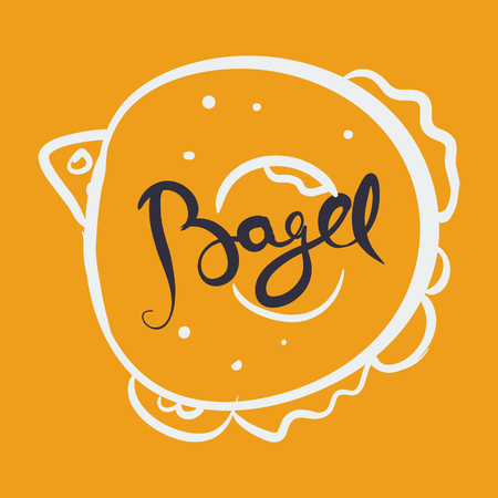 Bagel lettering with hand drawn illustration. Vector ink painted lettering. Phrase banner for poster, tshirt, banner, card and other design projects. Illustration