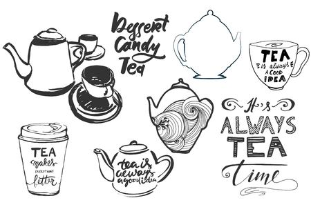 Tea is always a good idea. Tea makes everything better. Its always tea time.  Hand lettering and custom typography for your designs: t-shirts, bags, for posters, invitations, cards Ilustrace