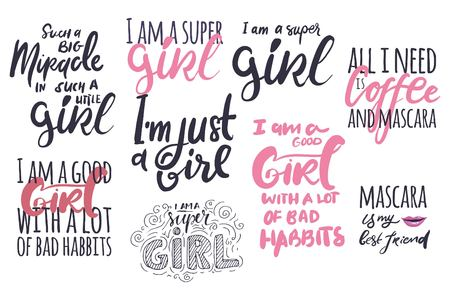 typescript: Girl quote. Inspirational and motivation quote for fitness, gym. Modern calligraphic style. Hand lettering and custom typography for t-shirts, bags, for posters
