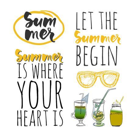 let: Vector illustration.Hello summer. Happy summer days. Let the summer begin. Summer