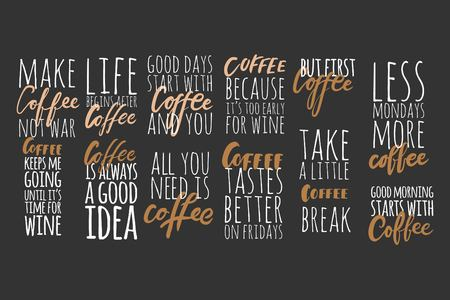 커피는 와인을 마시기 전까지는 계속 움직이지. 커피는 항상 좋은 생각이야. 디자인을위한 레터링 및 사용자 정의 타이포그래피 : 티셔츠, 가방, 포스