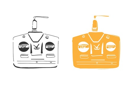 offroad car: Remote for rc racing. Hand drawn illustration.