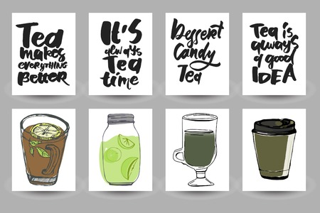 Tea is always a good idea. Tea makes everything better. Its always tea time. . Hand lettering and custom typography for your designs: t-shirts, bags, for posters, invitations, cards Ilustrace