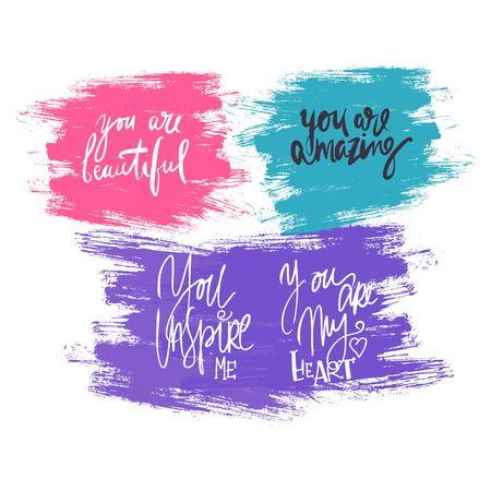 당신 정말 대단하네요. 당신은 아름답습니다. 당신은 내 마음이다. 칭찬 세트. 현대 붓글씨 style.hand 귀하의 디자인을위한 레터링 및 사용자 정의 타이 포 그래피 : 티셔츠, 가방, 포스터, 초대장, 카드