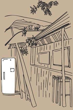 street view. Summer  vector illustration.European old yard