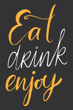Life is food. Food is an art. Good food is good mood. My kitchen is for dancing. Food makes me happy. Calories dont count  on the weekend. Eat, drink and be thanlful. Eat, drink, enjoy.Hand lettering and custom typography for your designs: t-shirts, bags