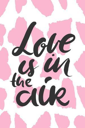 shaped: Motivational quotes about love. Hand lettering and customized typography with pink heart-shaped background design