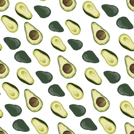 Avocado, banana, pineapple vector illustration. Food background.