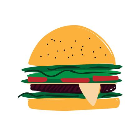 hot dog: Burger hand drawn illustration for posters, invitations, cards