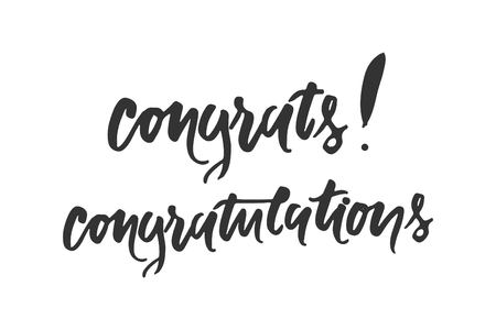 congratulation card. Vector hand drawn phrase. Hand lettering poster. Can be used for graduation, greeting, ceremony, achievement.