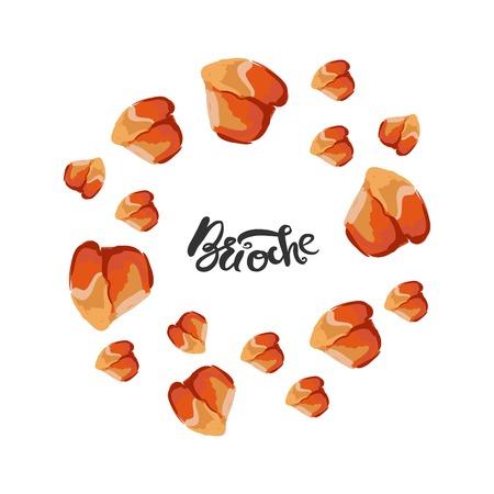 Brioche  illustration for menu, cards, patterns, wallpaper. Brioche hand drawn  logo Stock Vector - 87703231