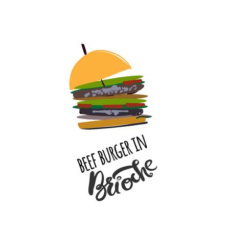 Burger in brioche  illustration for menu, cards, patterns, wallpaper. Stock Vector - 87743446