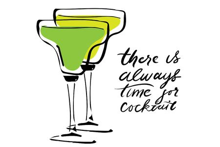 There is always time for cocktail. Cocktail hand drawn illustration for your design: menu, cards Vektorové ilustrace