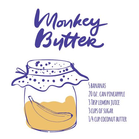 marmalade: Jars in sketch style vector illustration. Hand drawn monkey butter