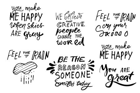 .引用ポスター、感動的な言葉、やる気を引き出す。あなたの肌に雨を感じてください。誰かが今日微笑む理由である。空が灰色のとき、あなたは私