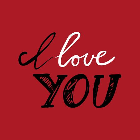 I love you. Hand lettering and custom typography for designs Vettoriali