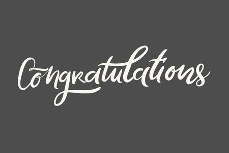 Congratulation card. Vector hand drawn phrase.  Can be used for graduation, greeting, ceremony, achievement.
