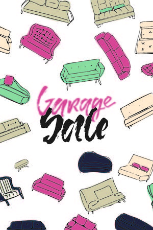 Garage Sale hand lettering for a design template Ilustracja