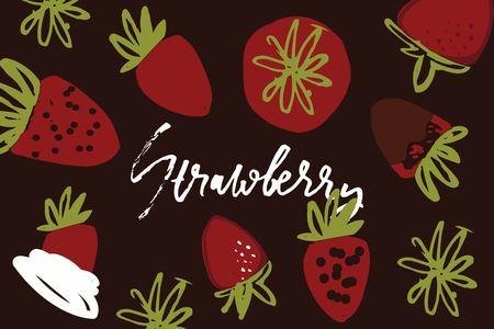 Hand drawn strawberries elements for your design. Ilustração