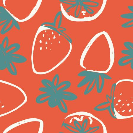 strawberry modern seamless pattern for your design. Ilustração