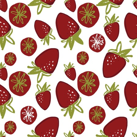 Hand drawn strawberries seamless pattern for your design.