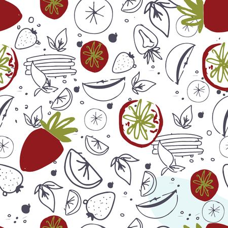 Fruit seamless pattern. Juice, detox water hand drawn background. Vector illustration Ilustração
