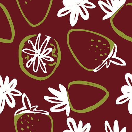 Strawberry modern seamless pattern for your design.