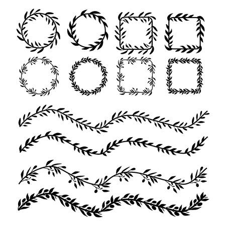 Leaf brushes for your design. Vintage frames Vector illustration