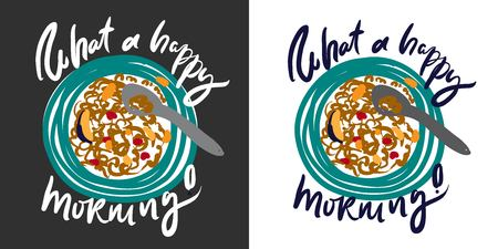 Breakfast illustration. Hand drawn posters for your design