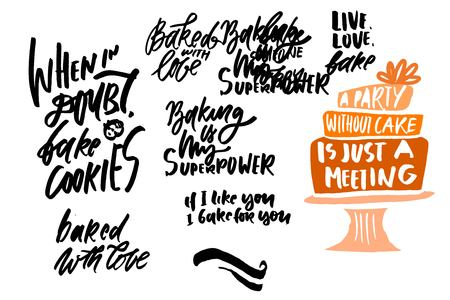 Cake ilustration. Hand lettering bakery quotes
