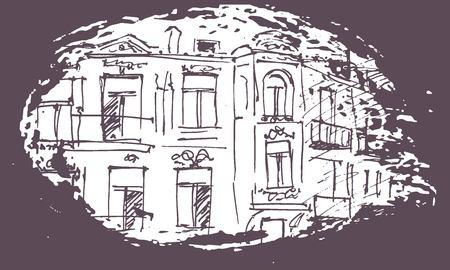 Urban sketching. Hand drawn illustration for your design. Old building. City landscape Banque d'images - 107871030