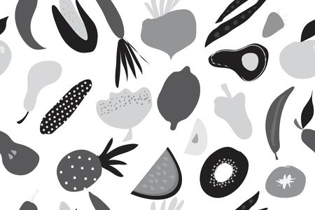 Fruits and vegetables digital background for your design. Seamless pattern