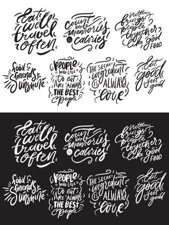 Eat well, travel often. Eat good, feel good. Hand lettering for kitchen, cafe, menu. Modern illustration for your design Standard-Bild - 114442133