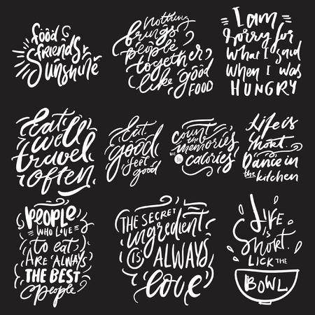 Eat well, travel often. Eat good, feel good. Hand lettering for kitchen, cafe, menu. Modern illustration set for your design